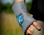 Nuno felted cuffs felted wrist warmers
