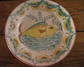 vintage HANDMADE CERAMIC PLATE, fish, turquoise, yellow, Portuguese, artisanal