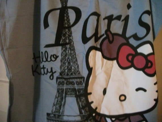 s.a.l.e-HELLO KITTY CAMISOLE, i love Paris, size s-m, black ribbons, pijama, leisurewear