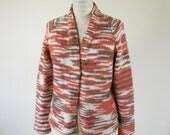 1970s Marled Wool Cardigan Orange Brown Womens Medium