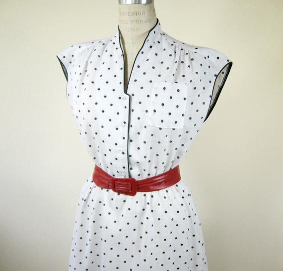80s White Black Polka Dot Dress Size Medium