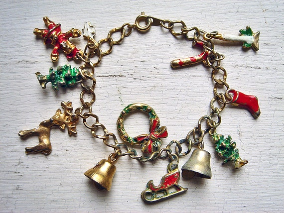 vintage charm bracelet by blueonioncurios on etsy