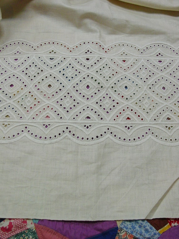 "Fabulous Vintage Linen Fabric Over 5 Yards, 53"" Wide with Eyelet Embroidery Border,"