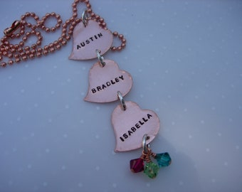 COPPER HEART Dangle Hand Stamped Necklace with Birthstone Charms
