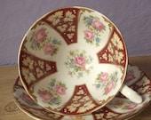 vintage tea cup and saucer set, Royal Grafton English bone china, pink roses leaves gold red burgundy, 1950's