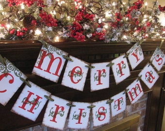 Merry Christmas Banner Red and Green Bunting Beautiful fireplace decoration, photo prop (CH9)