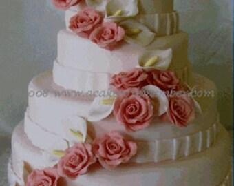 Gumpaste flower cascade for wedding cake, DIY wedding cake decorations