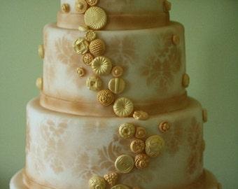 Sugar Buttons for Button Cascade, DIY wedding cake