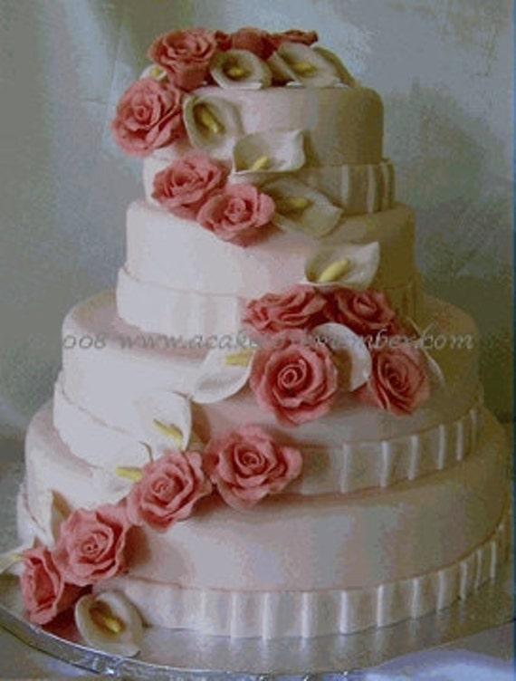 Etsy Wedding Cake Decorations : Gumpaste flower cascade for wedding cake DIY by ...