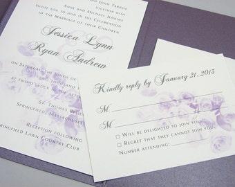 Purple Wedding Invitation Pocketfold Classic Purple Rose Bouquet Plum Traditional Winter Wedding