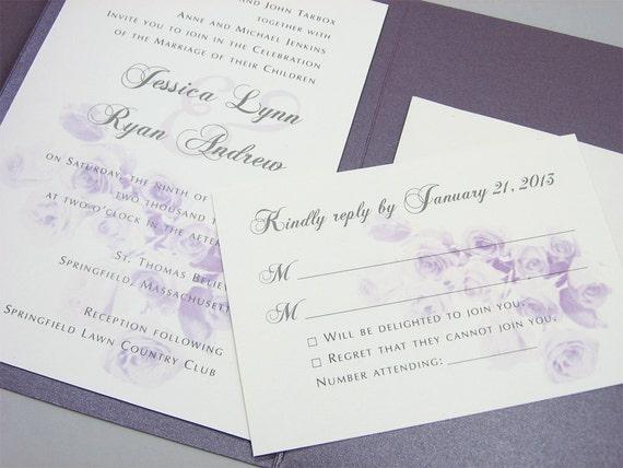 Purple Rose Wedding Invitations: Purple Wedding Invitation Pocketfold Classic Purple Rose