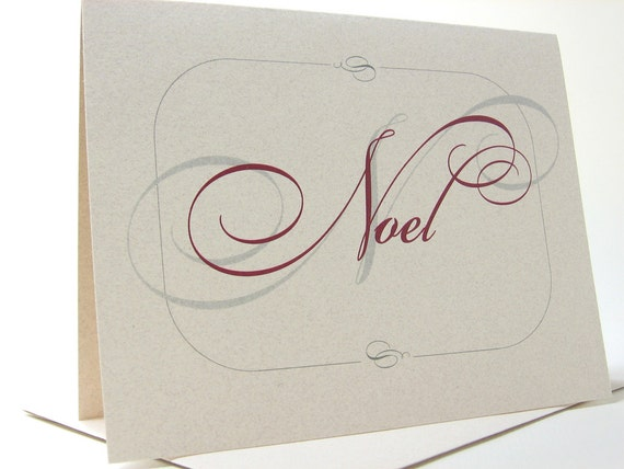Holiday Christmas Cards Noel Red Calligraphy Traditional Greeting Card Recycled Crimson Classic Script