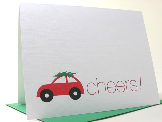 Holiday Christmas Card Cheers Red Car Modern Christmas Tree Green Bold Little Bug Auto