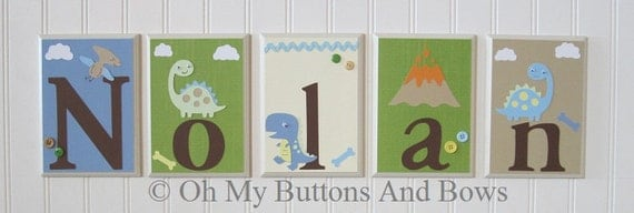 Dinosaur Nursery Theme . Hanging Name Letters . Childrens Room Decor . Baby Name Blocks . Hanging Wood Name Blocks . Dino . Dinosaur