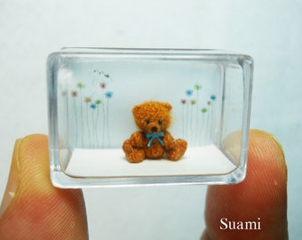 Micro Amigurumi Bear 0.4 Inch - Tiny Crochet Miniature Mohair Teddy Bear - Made To Order