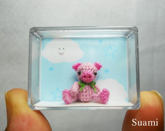 Miniature Pink Pig Green Bow - Teeny Tiny Crocheted Pigs - Made To Order