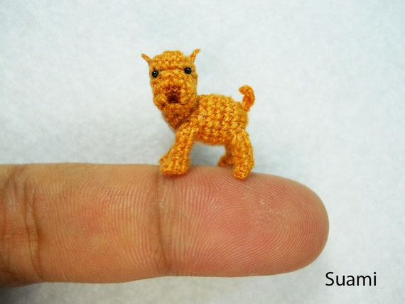 Dogo Argentino Dog - Tiny Amigurumi Crochet Miniature Brown Argentine Mastiff Dog