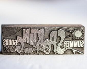 Summer Sporting Goods Vintage Letterpress Block LP50 Wood Printer's Block #12