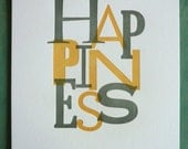Happiness Print Gray/Yellow