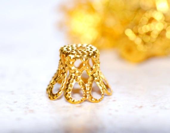 Gold Bead Caps, Basket Style Filigree Findings 10mm 50 pcs