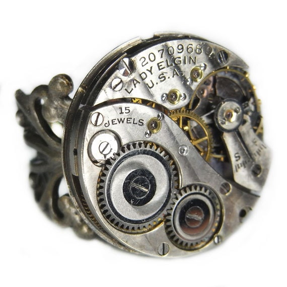 Women's Steampunk Ring Jewelry - Watch Movement Torch SOLDERED - Vintage 1918 LADY ELGIN Circular w/ Floral Silver Band - Pin Striped