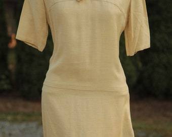 Vintage Yellow Dress with tie