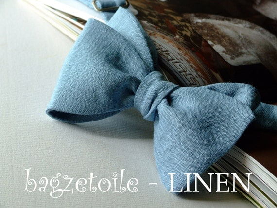 Linen Bow Tie, petrol blue colour, freestyle, mens bowtie.