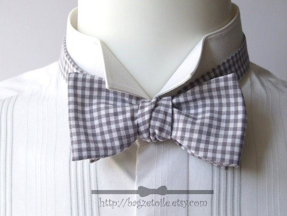 Gray Gingham, Bow Tie, freestyle bowtie for men, adjustable.