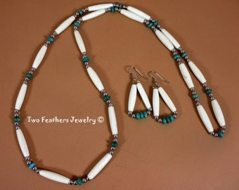Turquoise And Bone Native Style Necklace And Earrings - Traditional Style Turquoise Necklace - Turquoise Earrings - Bone Hair Pipe Jewelry