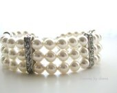 White Pearl Bracelet Cuff Swarovski Triple Strand OOAK Vintage Inspired Wedding Jewelry