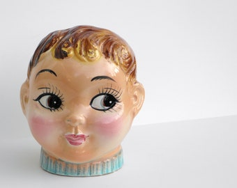 Vintage Boy Head , Ceramic Bank , Figural Piggy Bank , Made in Japan , Vintage Bust