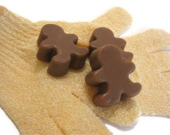 Gingerbread men Soap Exfoliating Glove Set
