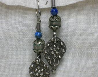 Vintage Earrings, Tibetan Lapis and Sterling Ethnic Boho Statement