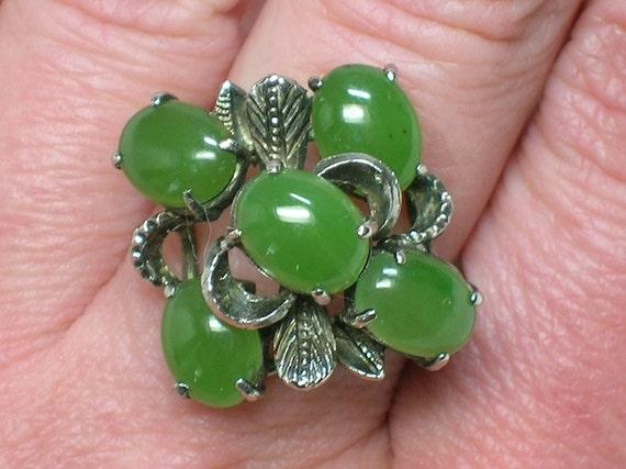 Silver Ring: Mod Nephrite Jade Statement Piece, 1960s 1970s