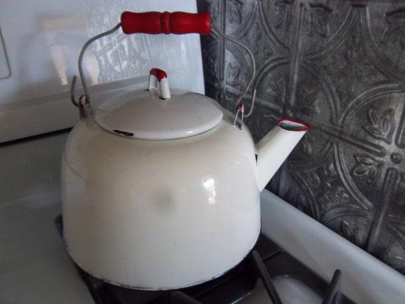 Vintage White Enamel 1 Gallon Tea Kettle