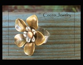 Antique Brass and Silver Flower Cuff Ring