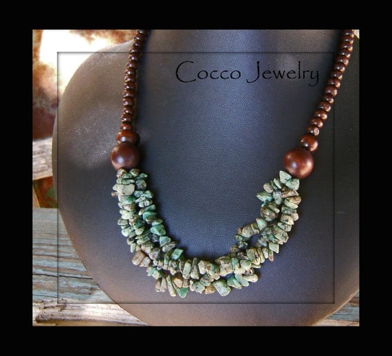 African Turquoise & Wood Necklace