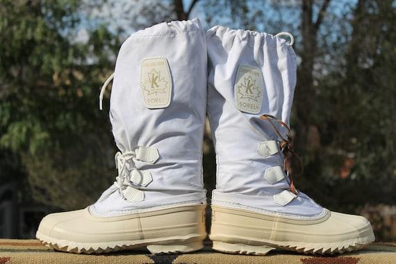 vtg. canada sorel kaufman white rubber winter boots womens size 7 SNOWLION