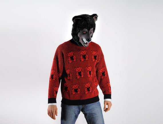 red and black teddy bears of doom novelty sweater