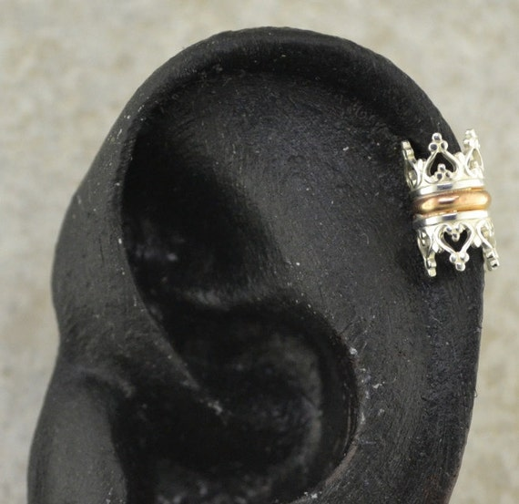 Crown Ear Cuff Cartilage - Sterling Silver and Gold Filled - SINGLE SIDE