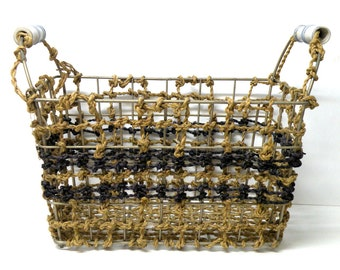 Jute Laundry BASKET Holder METAL Rectangle basket Gifts for Organizing Trends Playroom Storage Craft Storage Organization Dog Toy Storage