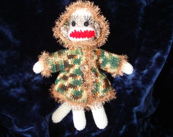 Crochet Sock Monkey Camoflage Hooded Jacket