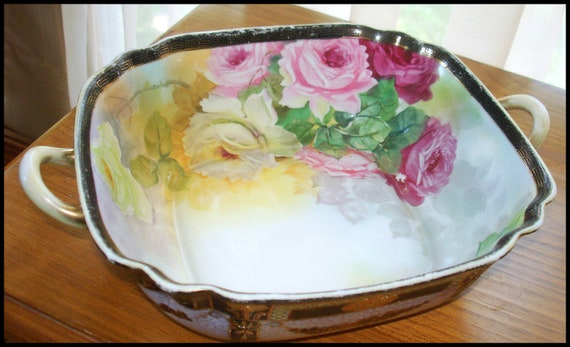 Vintage Flowered Noritake Bowl with Handles.  Hand Painted. Gold Trim