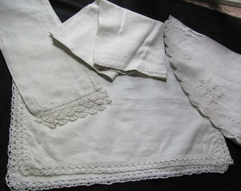 Table Linens Lot of 4 White Linen Embroidered Doilies Place Mats Towel Runners