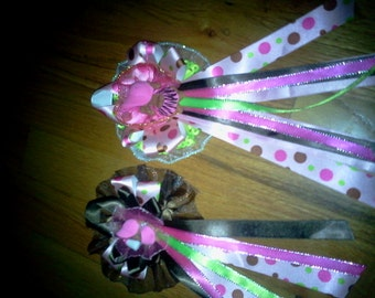 25 Custom  baby shower corsages and capias/ pin ons  hot pink ,lime green and brown