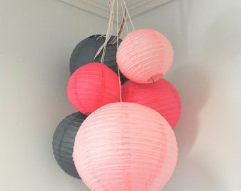 Hot Pink, Pale Pink, and Grey Mini Paper Lantern Balloon Mobile