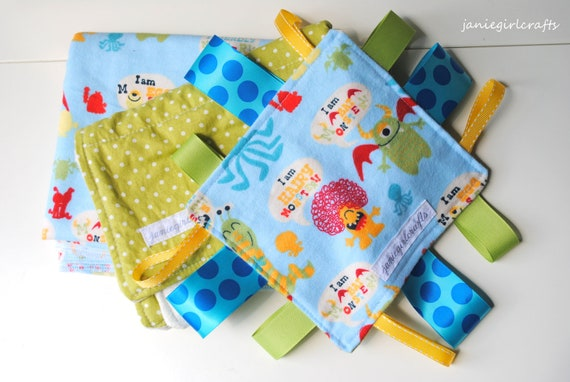 Monster Gift Set-1 burp cloth and 1 Flannel receiving blanket, 1 tag blanket