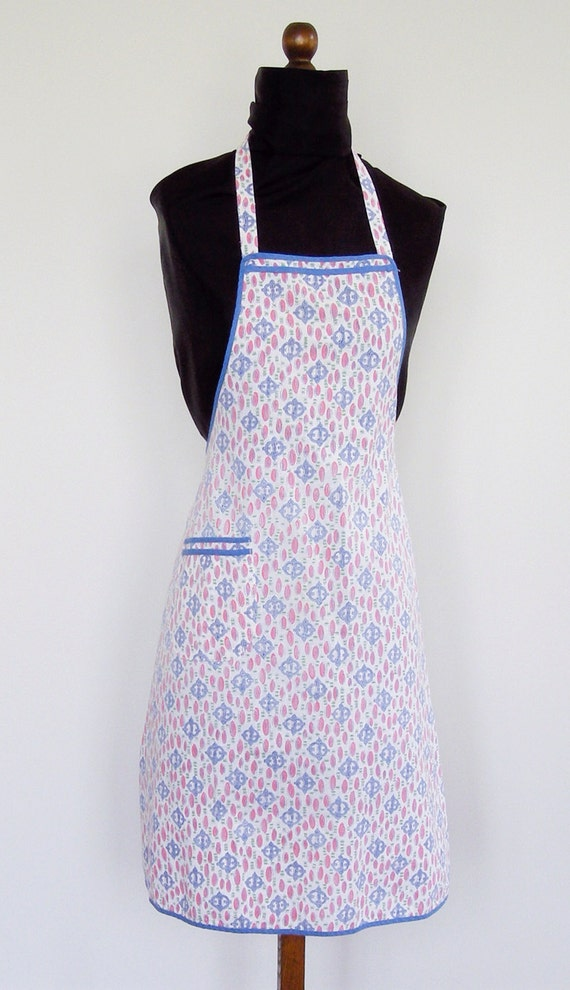 Mid 40s - Early 50s Vintage Full Apron with Blue Piping and Pocket - Bib Apron