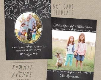 Chalk Branches & Berries Holiday 5x7 FLAT card Template for professional Photographers