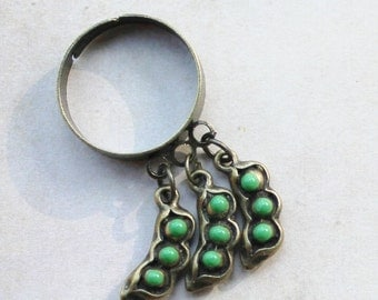 Adjustable ring, peas charm ring, cluster ring, charm ring